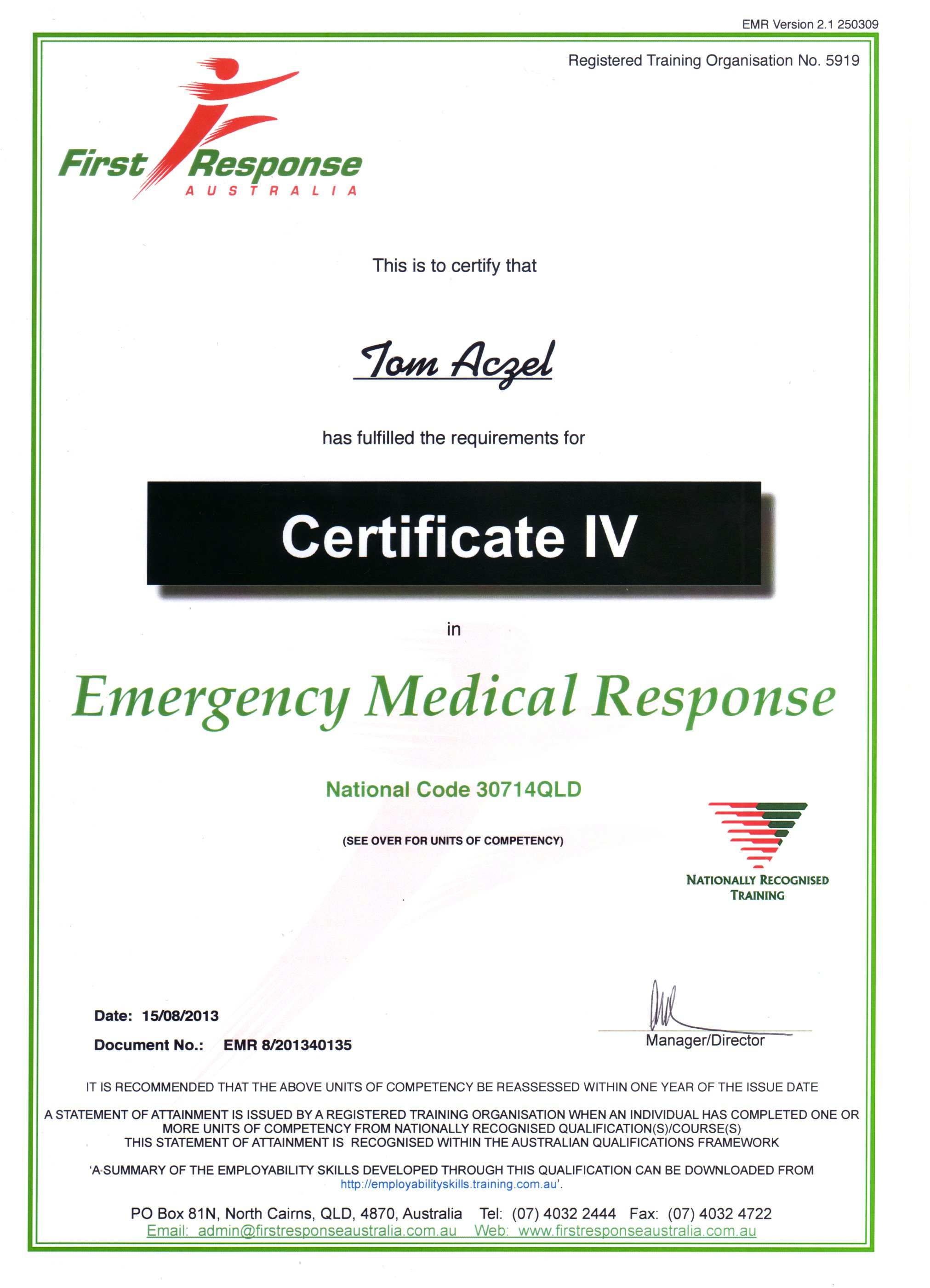 About Tom Aczel - Emergency Medical Response