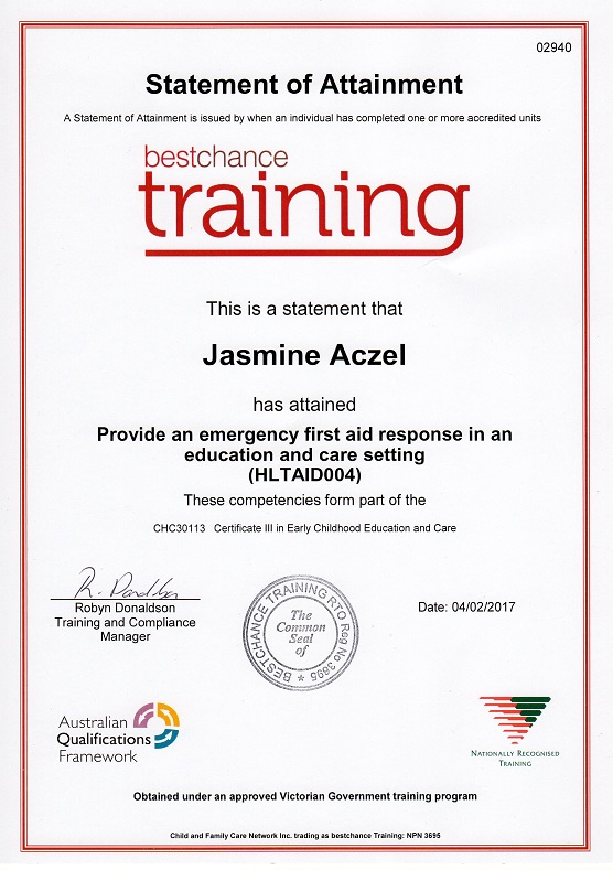 About jasmine aczel emergency medical response for First aid certificate template free